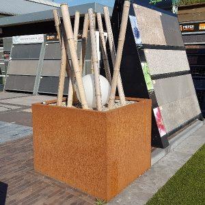 Cortenstaal bloembak 100x100x65 cm - 36618 - Steenvoordeel.nl